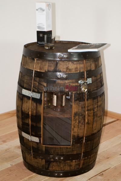 Regalfass aus Bourbonfass 190 l inkl. Tür mit Plexiglasscheibe
