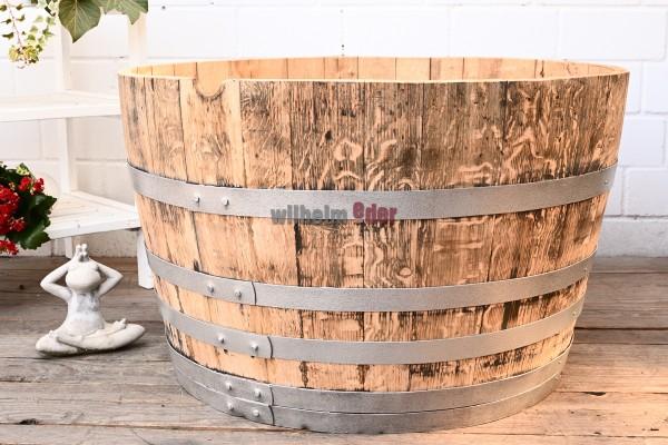 Blumenkübel - 1/2 300 - 350 l Weinbrandfass - abgeschliffen