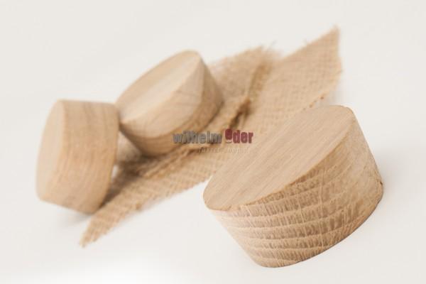 Spundscheibe aus Eichenholz mit Jutetuch