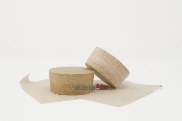 Spundscheibe aus Pappelholz mit Leinentuch