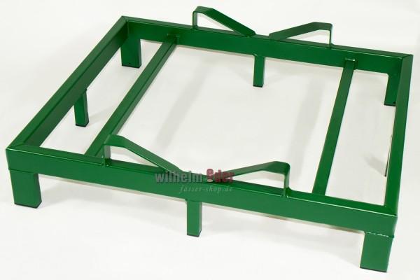 Bodenlager aus feuerverzinktem Metall für 1 Fass 500 l - grün lackiert