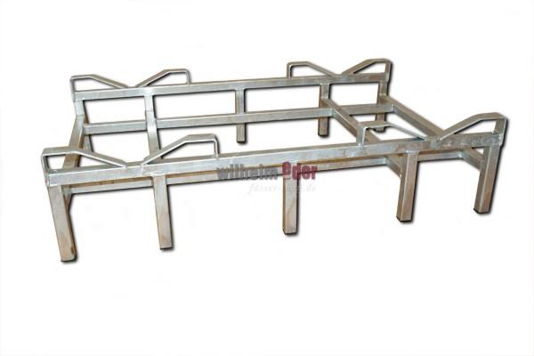 Bodenlager aus feuerverzinktem Metall für 2 Fässer 225/228 l